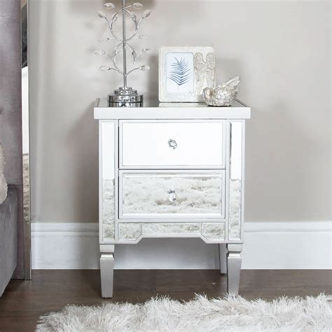 georgia silver mirrored chest   drawer bedside cabinet