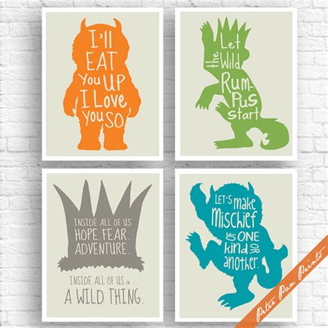 printable version of where the wild things are where the wild things are inspired quotes set of 4 art print