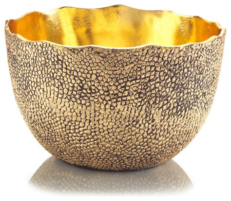 Decorative Bowl by Cecile Regency Hammered Antique Gold Decorative