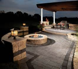 Outdoor patio with fire pit for backyard aida homes