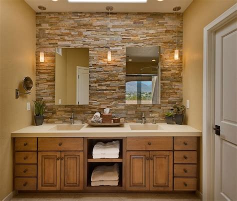 How To Frame A Bathroom Mirror With Crown Molding by Cozy Bathroom Designs With Stone Walls