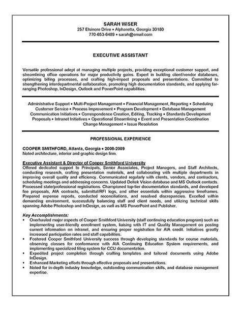 Resume For Executive Assistant by Executive Assistant Resume Exle Sle