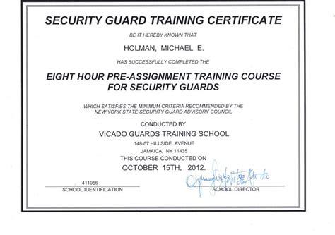 Security Guard Training Certificate Security Guards