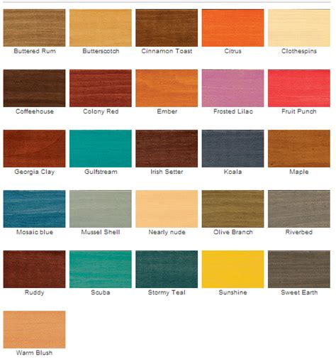 cabot stain colors cabot interior wood stain color chart