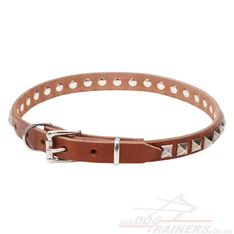 Handmade Leather Leads - pretty collar with square studs handmade collars 163