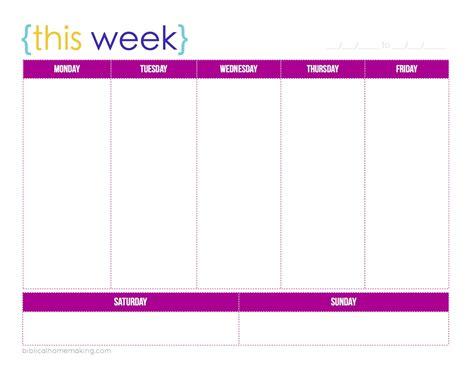 printable 5 day weekly calendar weekly blank calendar printable calendar template 2018