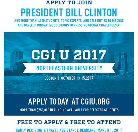 Northeastern Mba Application Deadline by Clinton Global Initiative 2017 For High Impact