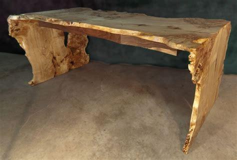 Black Poplar Burl Desk With Claro Walnut Drawers