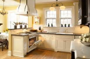Modern Victorian Kitchen Design by White Cabinets With Yellow Walls Kitchen Inspiration