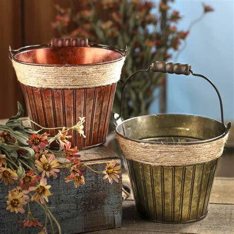 Tin Decor by Rustic Verde Green Patina Tin Baskets Buckets