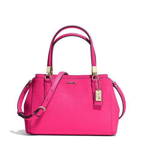 Coach Mini Christie Satchel Pink Fuschia Tas Coach Original pink leather satchel bag coach mini christie