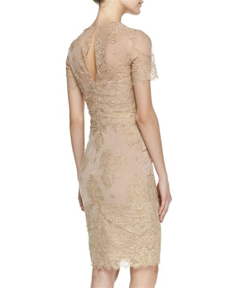 Hq 7859 Lace Dress 1 notte by marchesa sleeve metallic lace cocktail dress