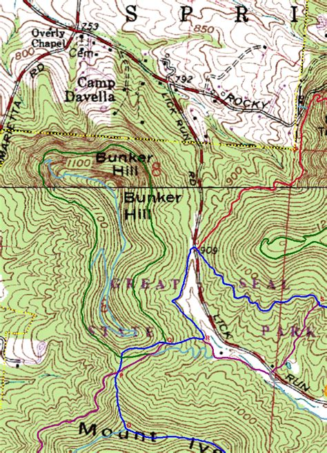Knob Hill Trail Map by Great Seal State Park