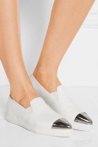 Miu Miu Metal Toe Slip On miu miu metal trimmed leather slip on sneakers net a