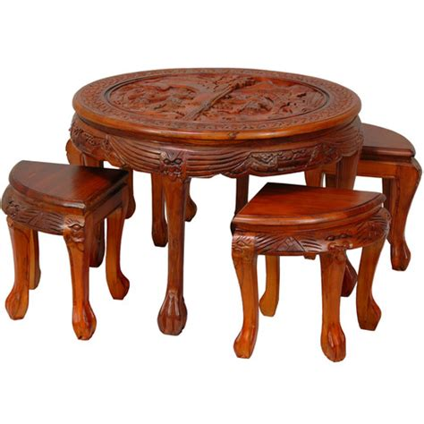 Carved Coffee Table With Stools by Carved Circular Coffee Table With Stool Wayfair