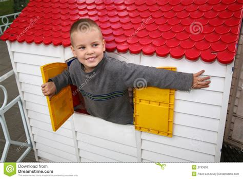 toy house for boy boy in the toy house royalty free stock photo image 2793605