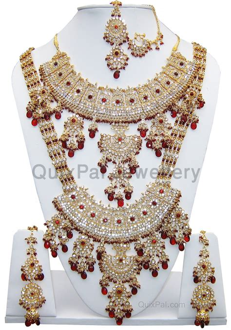 Indian Costume Jewelry Kajol Jodha Dulhan Set 701 Maroon