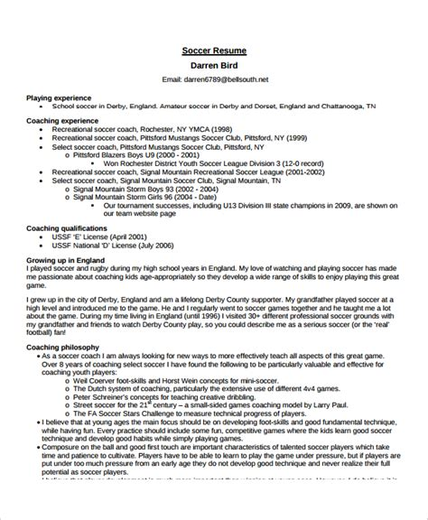 soccer coach resume exle coach resume template 6 free word pdf document