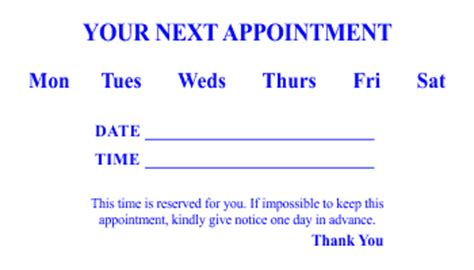 Appointment Card Templates 3 And 4 Appointment Card Template