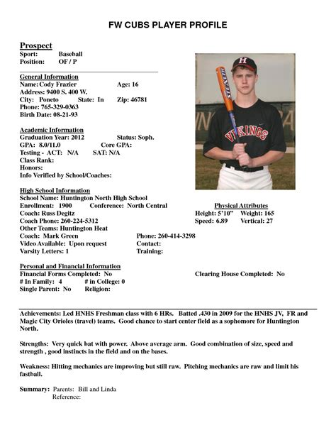 Baseball Player Profile Sle Pictures To Pin On Pinterest Pinsdaddy College Soccer Player Profile Template