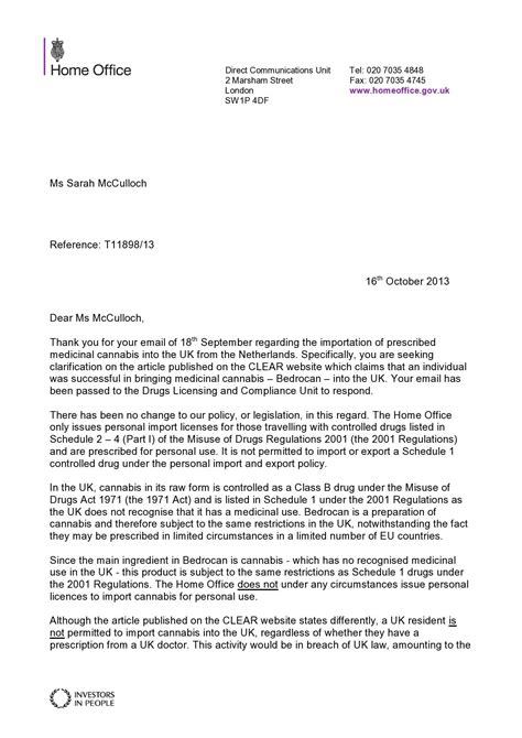 Employment Letter Home Office About Clear And That Quot Cannabis Quot Claim Sarahmcculloch Activism