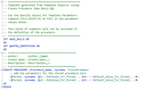 Sql Server Stored Procedure Template by Ssms Templates In Sql Server 2012 The Blobfarm