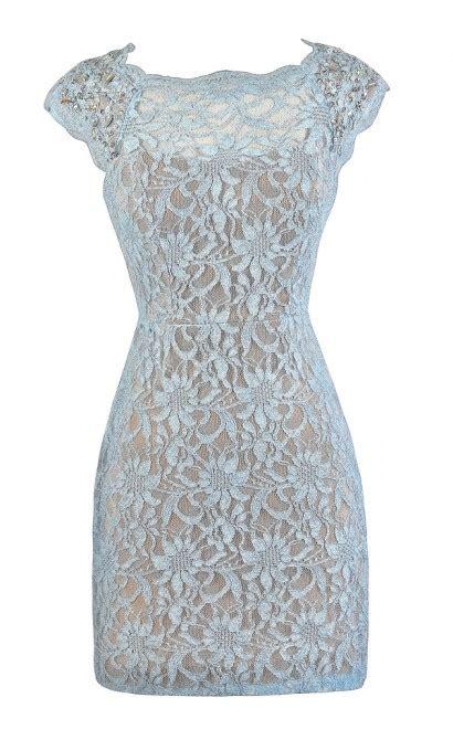 Dress Renda Baby pale blue metallic lace dress glitter lace dress sky