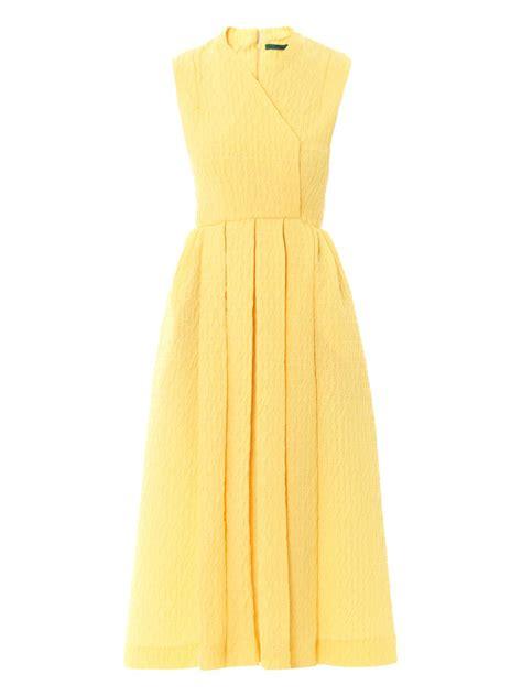 Dress Emilia emilia wickstead jully textured crepe sleeveless dress in yellow lyst