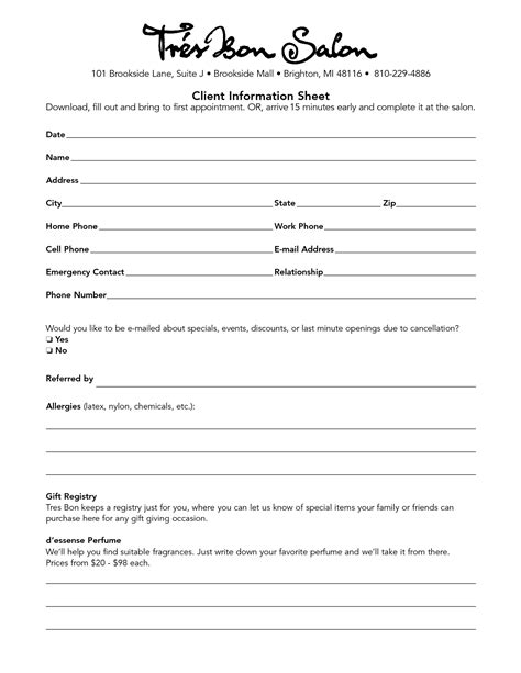 client consultation form template hair salon consultation forms hairstylegalleries