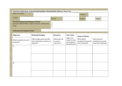 Ippd For Teachers Individual Professional Development Plan For Teachers Template