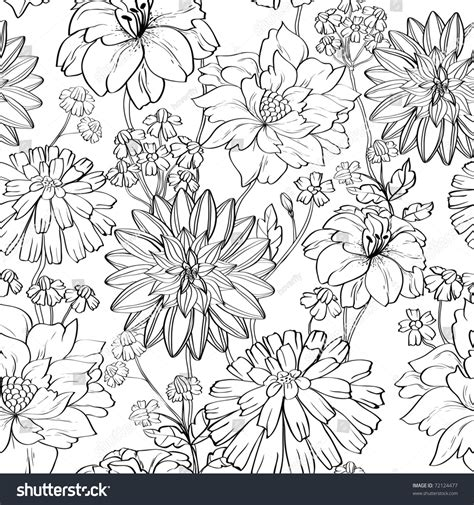 hand drawn wallpaper hand drawn floral wallpaper set different stock vector