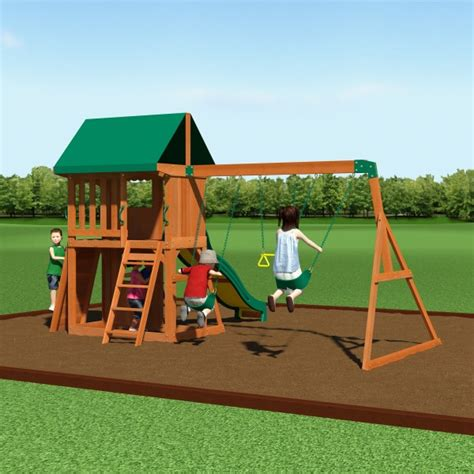 backyard wooden swing set backyard discovery 65012com somerset wooden swing set w playhouse