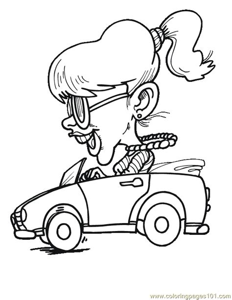 car driving coloring page girl happy driving car coloring page free racing cars