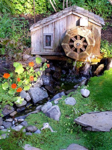backyard water wheel mini waterwheel mini stream my own garden old water