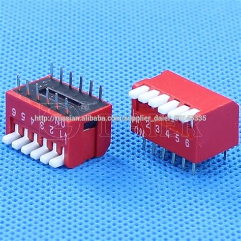 Dip Switch 6 Position 6 Pin Merah 3 position dip switch piano style 6 pin dip view 3