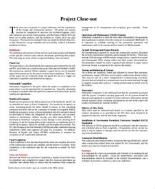 project closeout template sle project closeout 7 documents in pdf word
