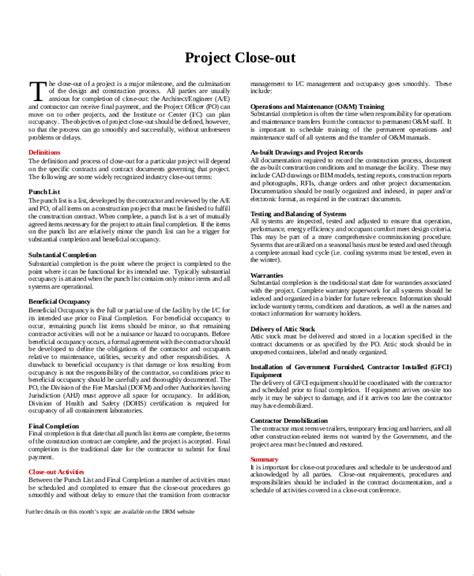 Project Closeout Report Template Pdf Sle Project Closeout 7 Documents In Pdf Word