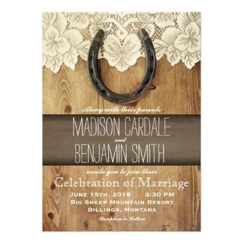 country western horseshoe lace wedding invitations zazzle wedding wedding invitations