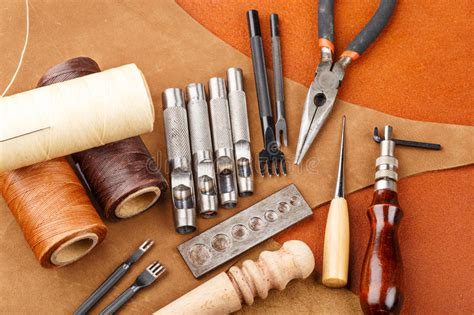 Handmade Leather Craft - handmade leather craft tool stock photo image 33839574