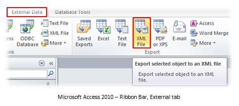 microsoft access database: xml data export in access