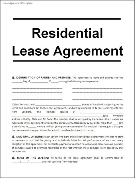 real estate lease template printable sle free lease agreement template form real