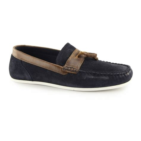 Casual Suede Navy houghton mens suede casual tassel loafers navy