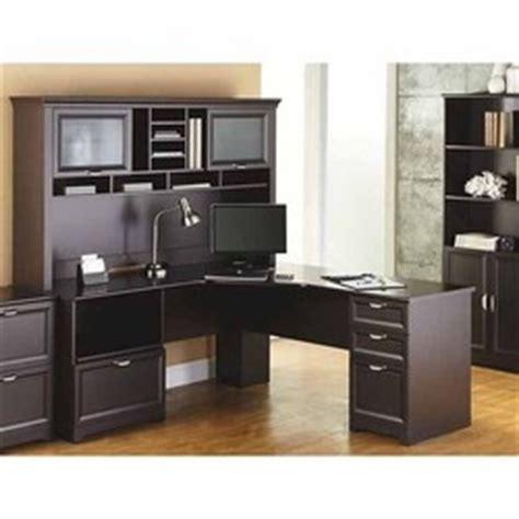 realspace magellan performance collection l desk espresso realspace 174 magellan performance l desk and hutch bundle
