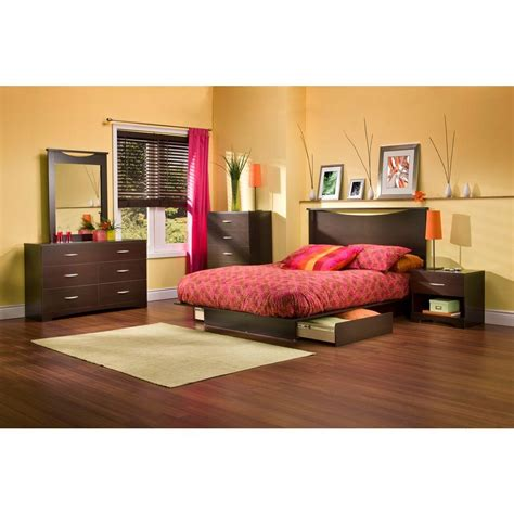 monaco platform bed bedroom set chocolate queen bedroom sets south shore step one chocolate queen storage bed 3159217