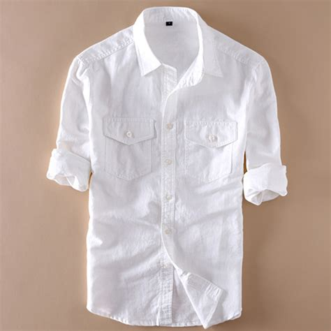 Linen Cotton Sleeve Shirt white shirt cotton custom shirt