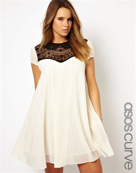 cream lace swing dress asos curve asos curve exclusive swing dress with lace