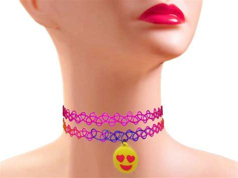 Tatto Choker Soft Purple strechable choker necklace set pink and rainbow