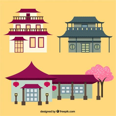 Japanese Minimalist oriental houses vector free download