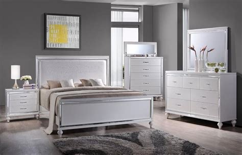 home center bedroom furniture miami collection 6 piece white queen bedroom set mm100