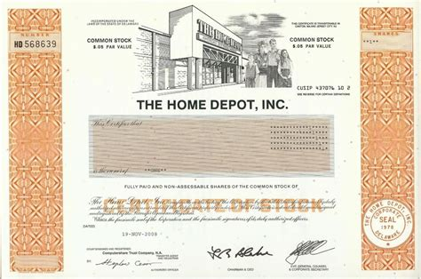 home depot stock certificate